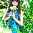 Girl with dasies - Stock Photo