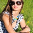Fashion girl wearing sunglasses — Foto de Stock