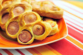 Sausages in dough — Stock Photo
