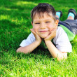 Happy little boy on the grass — Stock Photo