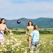 Children playing a ball in fiels — Stock Photo #7260828
