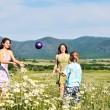 Children playing a ball in fiels — Stock Photo