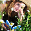 Reading teen girl — Stock Photo