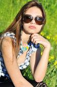 Sensual girl wearing sunglasses — Stock Photo