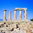 Ruins of temple in Corinth, Greece - Stock Photo