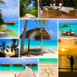 Stock Photo: Collage of summer beach maldives images
