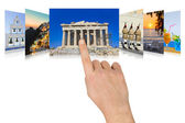 Hand scrolling Greece travel images — Stock Photo