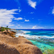 Tropical beach at Seychelles - Stock Photo