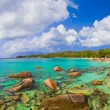 Panorama of beach Anse Lazio at Seychelles - Stock Photo