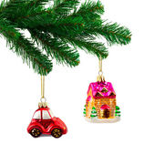 Christmas tree and toys — Stok fotoğraf
