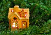Verlichting huis en kerstboom — Stockfoto
