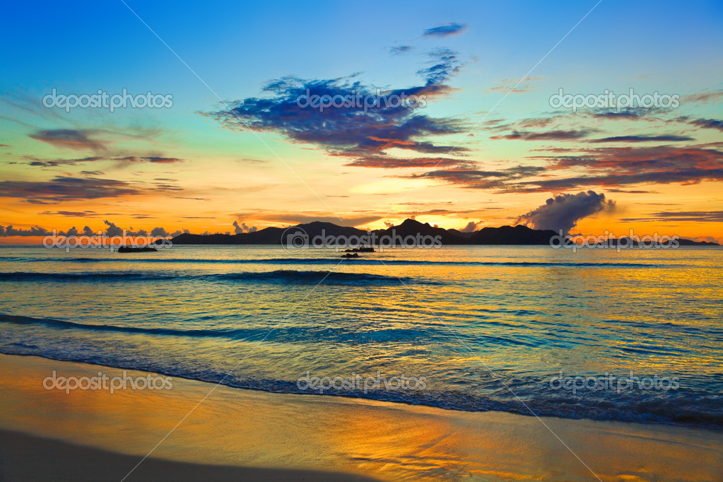 Tropical island at sunset - nature background  Stock Photo #7752371