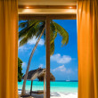 Foto de Stock  : Hotel room and beach landscape