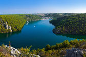 River Krka and town in Croatia — Stock Photo