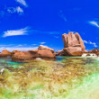 Panorama of tropical beach at Seychelles - Stock Photo