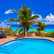 Pool at tropical beach - Stock Photo