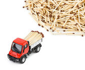 Toy car truck and matches — Stock Photo