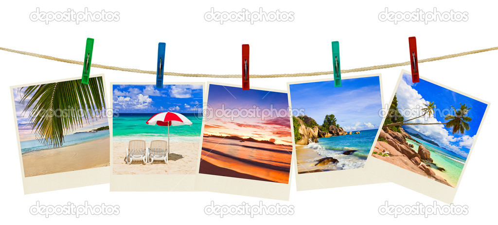 Vacation beach photography on clothespins isolated on white background  Stock Photo #7937336