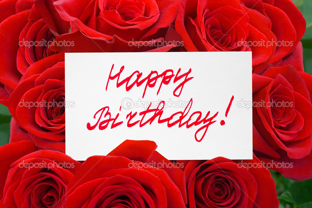 Roses and card Happy birthday - holiday background — Stock Photo #7952815