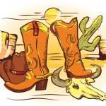 Cowboy elements .Color wild western image — Stock Vector