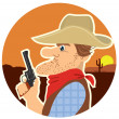 Cowboy portrait.Vector color cartoons — Stock Vector