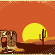 Cowboy boots.Grunge wild western background of sunset — Stock Vector #6876248