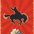 Rodeo cowboy.Wild horse race.Vector graphic poster with grunge b - Stock Vector