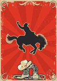 Rodeo cowboy.Wild horse race.Vector graphic poster with grunge b — Stock Vector