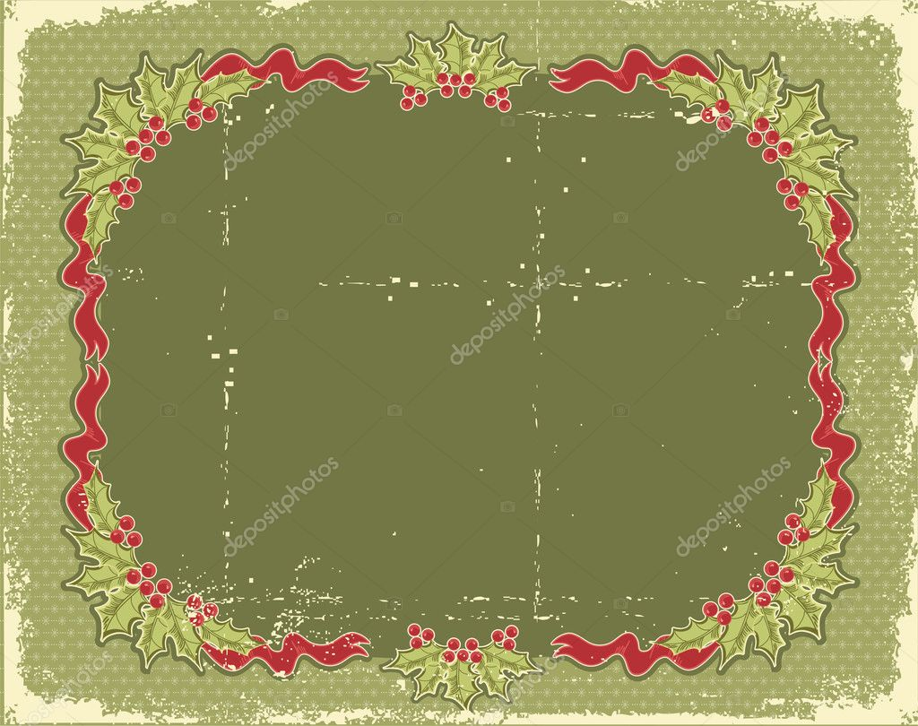 Vintage Christmas card for design with holiday elements.Vintage background — Stock Vector #7070548