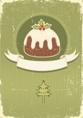 Vintage christmas pudding on old paper texture — Stock Vector