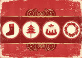 Vintage christmas background card for holiday — Stock Vector