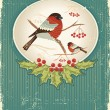 Bullfinches in winter.Vintage christmas card for text - Stock Vector