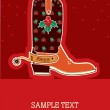Cowboy christmas card with boots and holiday decoration — Stock Vector