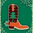 Cowboy christmas card with boot decoration — Stock Vector