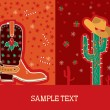 Cowboy red christmas card for text — Stock Vector