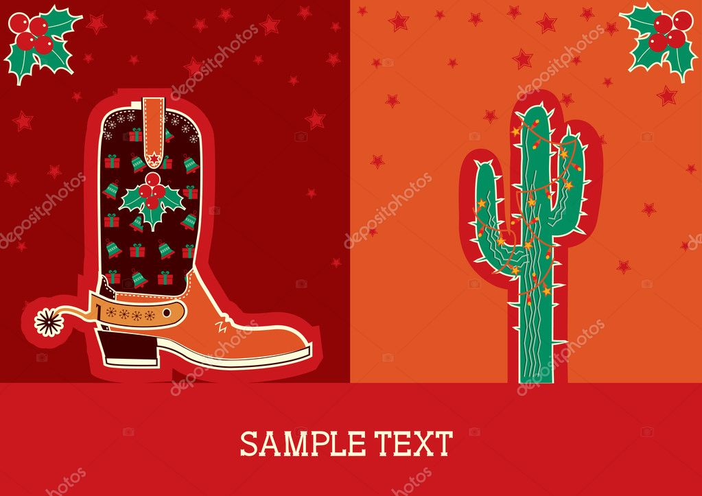 Cowboy red christmas  card with boots and holiday decoration  Stock Vector #7238503