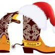 Cowboy boots and Santa's red hat on white for design — Stock Vector #7260469