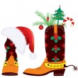 Cowboy boots and Santa&#039;s red hat for design - Stock Vector