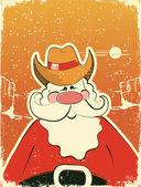 Santa Claus with cowboy hat .Retro card — Stock Vector