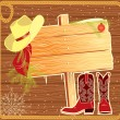 Billboard frame with cowboy hat.Vector christmas background for — Stock Vector #7285092