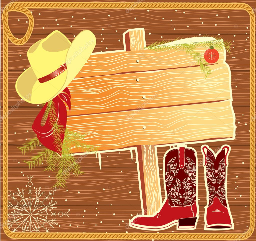 Billboard frame with cowboy hat.Vector christmas background — Stock Vector #7285092