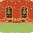 Cowboy christmas card with boots and holiday decoration.Vintage — Stock Vector