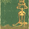 Vintage christmas green card with cowboy boot and fir-tree on ol — Stockvectorbeeld