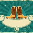 Cowboy boots card on old paper .Vintage background - Stock Vector