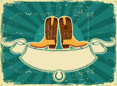 Cowboy boots card on old paper .Vintage background — Vecteur