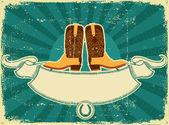 Kovbojské boty karta na starý papír .vintage pozadí — Stock vektor