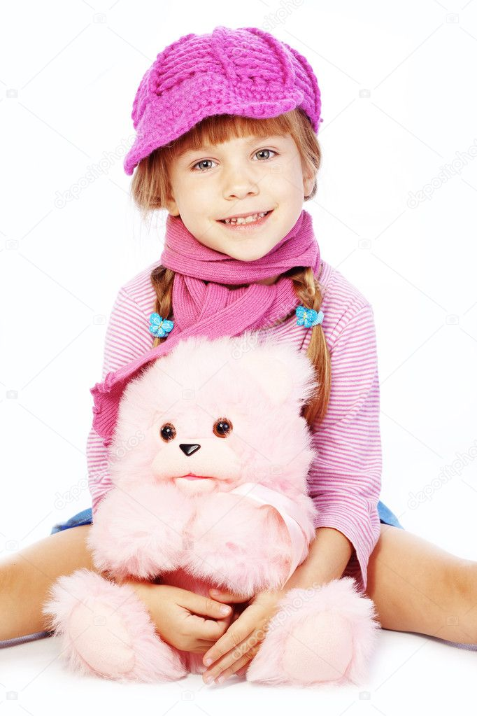 Fashion little girl studio series over white — Stock Photo #6781492