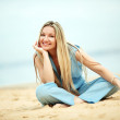 Woman resting at the beach — Stock Photo #6903700