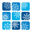 Stock Vector: Icons of snowflakes