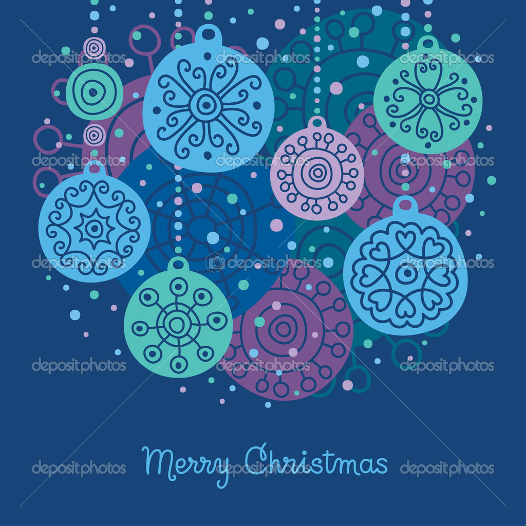 Card with Christmas balls  Stock Vector #7687824